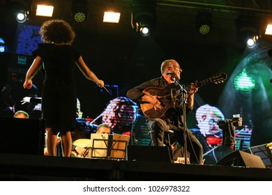 SAFED, ISRAEL - AUG 23, 2017:Group of musicians (David Broza) and crowd at the Klezmer Festival in Safed (Tzfat), Israel. The 30th annual traditional Jewish non-ticketed festival on the public street