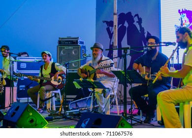 SAFED, ISRAEL - AUGUST 23, 2017: Group of musicians (Agadata) play at the Klezmer Festival in Safed (Tzfat), Israel. The 30th annual traditional Jewish non-ticketed festival in the public streets