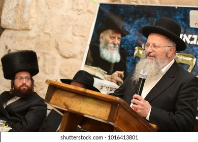 SAFED, ISRAEL - DEC 9, 2017: Rabbi Shmuel Eliyahu, Rabbi of the city of Tzfat/Safed, speaks at a festive meal honoring the Grand Rabbi of Chabad, Rabbi Shnuer Zalman of Liadi