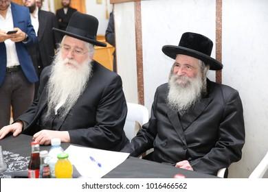 SAFED, ISRAEL - JAN 11, 2018: Rabbi Eliezer Elazar Mordechai Kenig at a groundbreaking ceremony of a new school in Safed/Tzfat, Israel with deputy minister of education Rabbi Meir Porush