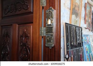 Safed, Israel - Jan 23, 2015: Mezuzah at entrance to Rabbi Yosef Caro Synagogue