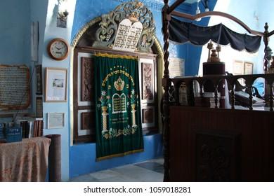 Safed, Israel - Jan 23, 2015: Holy Ark at Rabbi Yosef Caro Synagogue