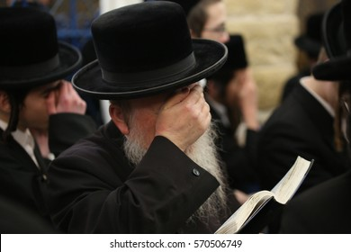 SAFED, ISRAEL January 31 2017: Orthodox Jews pray and learn Torah grave of Rabbi Shimon Bar Yochai in Meron