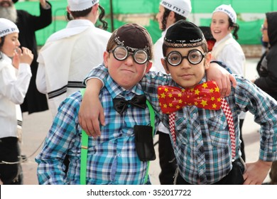 SAFED, ISRAEL - MARCH 15, 2014: Unidentified children dress up in costume as is customary on Jewish holiday of Purim