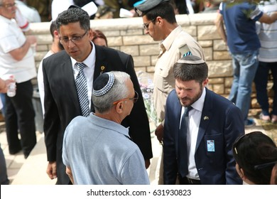 Safed ,Israel -  May 1, 2017 Jewish Home parliament member Bezalel Smotrich  attend a ceremony at the cemetery in Safed,as Israel mark Memorial Day, commemorating the deaths of Israeli soldiers