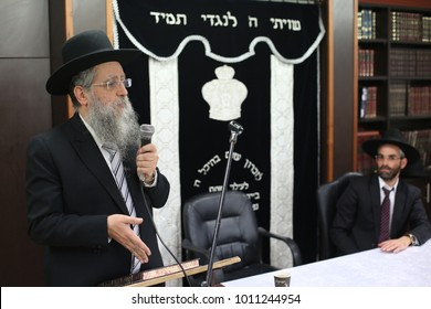 SAFED, ISRAEL - Nov 16, 2017: Rabbi David Yosef (son of Rabbi Ovadiya Yosef), Sefardi Rabbi from Jerusalem, gives a Torah lesson in the city of Tzfat/Safed