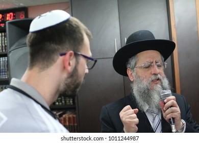 SAFED, ISRAEL - Nov 16, 2017: Rabbi David Yosef (son of Rabbi Ovadiya Yosef), Sefardi Rabbi from Jerusalem, gives a Torah lesson in the city of Tzfat/Safed
