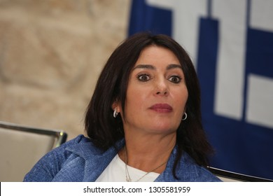 SAFED, ISRAEL - OCT 2, 2018: Minister of Sports, Miri Regev, speaks at an Israeli political rally for the Likud Party in Safed, Israel.