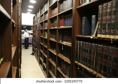 SAFED, ISRAEL - OCT 25, 2018: Unidentified Jewish youth hang out in the halls of a Jewish religious library in Safed, Israel