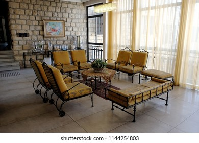 SAFED, ISRAEL - SEPTEMBER 24, 2017: Rest corner in the lobby of the hotel boutique Ruth Rimonim