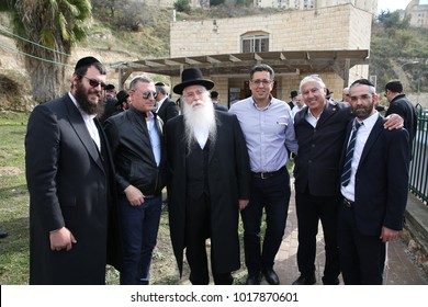 SAFED, ISRAEL-JAN 11, 2018: Mayor of Safed, Ilan Shochat, with Meir Porush, deputy minister of education, Nachman Gelbach, Nehorai Lechiyani, Motti Cohen, and other city officials in Safed, Israel