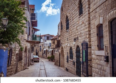 SAFED or TZFAT, ISRAEL APRIL 09, 2018:  Streets in the Jewish quarter in Safed (Tzfat), Israel