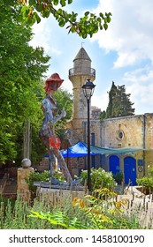 Safed, Upper Galilee, Israel - July 19, 2019: minoret of old turkish mosque, walk through the Old Town of Safed, center of Kabbalah and jewish mysticism in Upper Galilee
