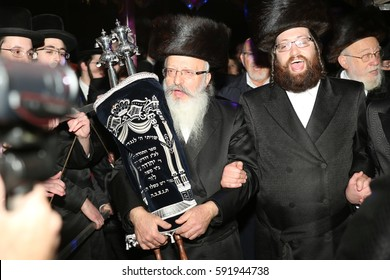 SAFED,ISRAEL- March 01 2017: Inauguration of a Torah scroll ceremony, is a Jewish ceremony in which one or more Torah scrolls are installed in a synagogue or in the sanctuary of Jewish institution.