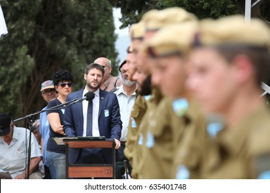 Safed,Israel-May 1,2017 Jewish Home parliament member Bezalel Smotrich and Ilan Shohat,mayor of the Tzfat,attend the Israel Memorial Day, commemorating the deaths of Israeli soldiers killed