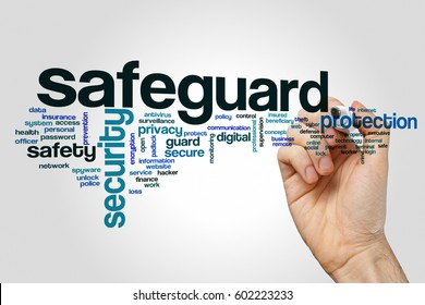 Safeguard word cloud concept on grey background