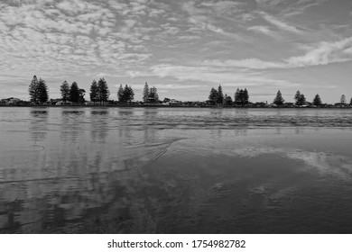 Safety Bay, Perth WA. June 6, 2020. Black and white scenery of safety bay kite surfing beach. The pond.
