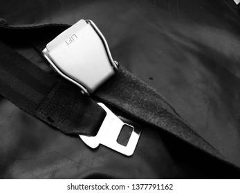 Safety belt on the aircraft. Fasten seat belt .