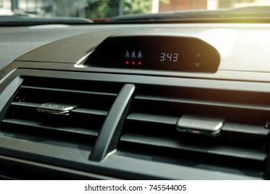 Safety belt symbol and led light warning in luxury car.