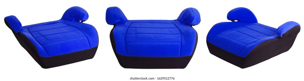 Safety booster seat for children, blue car seat isolated on white background with clipping path. Set of children's car seats