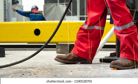 Safety boots of factory or industry worker.  shoes with anti static and protection from acids and oils