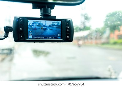 Safety camera car on the road.