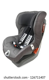 Safety car seat for children isolated on white background.