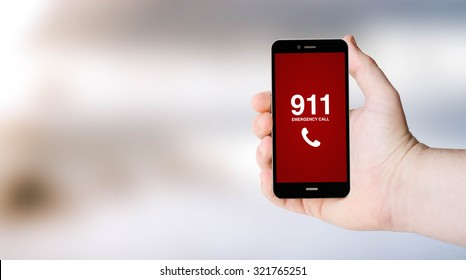 safety concept: 911 sign on digital generated phone screen with sea background. All screen graphics are made up.