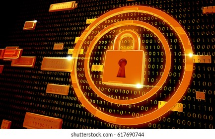 Safety concept, Closed Padlock on digital background, cyber security, Orange abstract hi speed internet technology background illustration