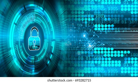 Safety concept, Closed Padlock on digital, cyber security, Blue abstract hi speed internet technology background illustration. key, sci fi