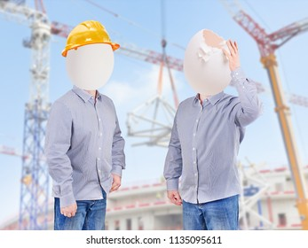 Safety concept. Helmet hat for workers safety
