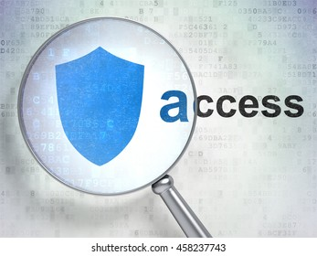 Safety concept: magnifying optical glass with Shield icon and Access word on digital background, 3D rendering