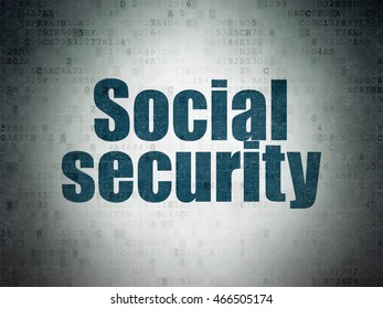 Safety concept: Painted blue word Social Security on Digital Data Paper background