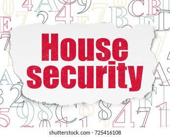 Safety concept: Painted red text House Security on Torn Paper background with  Hexadecimal Code