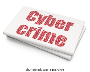 Safety concept: Pixelated red text Cyber Crime on Blank Newspaper background, 3D rendering