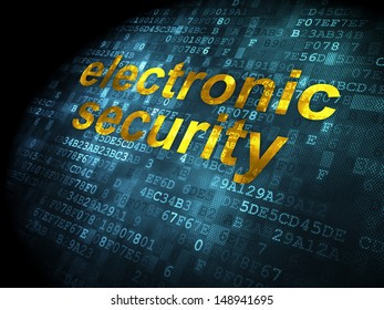 Safety concept: pixelated words Electronic Security on digital background, 3d render
