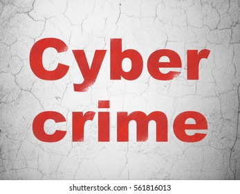 Safety concept: Red Cyber Crime on textured concrete wall background