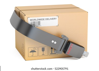 safety delivery concept, safety belt with cardboard box parcel. 3D rendering  isolated on white background
