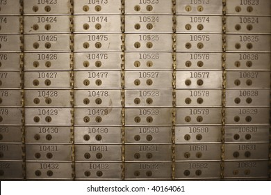 Safety deposit boxes in a bank vault.