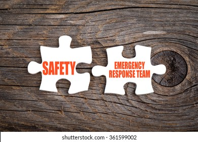 Safety and Emergency Response Team - words on puzzle. Conceptual image.