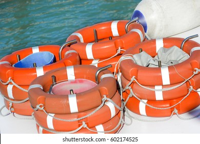 Safety equipment, Life buoy or rescue buoy and Sailboat Side Fenders on tourist boat