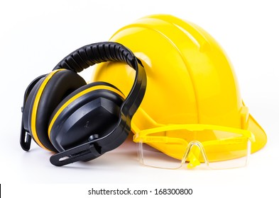 Safety equipment on isolated white background , Safety helmet , ears protection , eyes protection