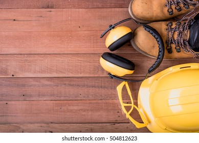 safety equipment on wooden.Industrial construction concept, tools