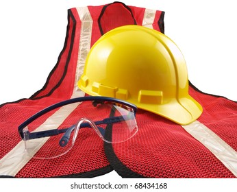 Safety equipment, orange vest, glasses and hard hat.  Isolated on white.
