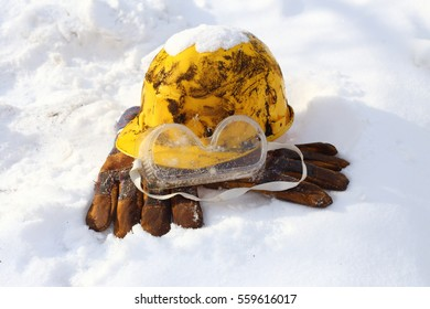 Safety equipment set in snow