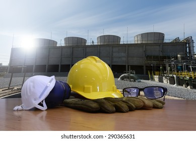 safety equipment for work outdoor at utility construction site.