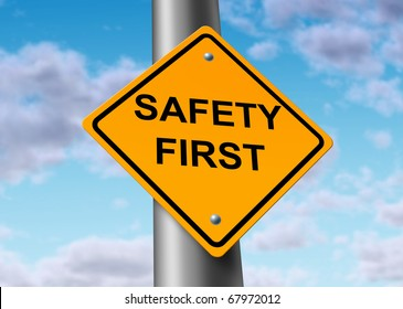 Safety First road street sign symbol