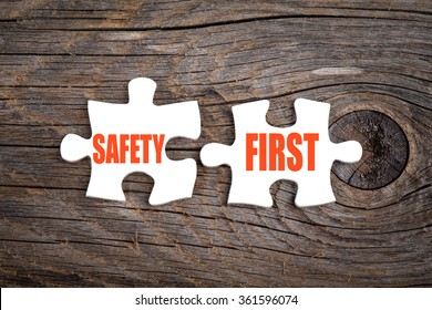Safety First - words on puzzle.Conceptual image.