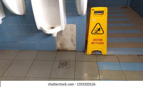 The safety first yellow floor cautioned the signage has a wet floor and cleaning, Cleaning in progress, Thanks for your cooperation
