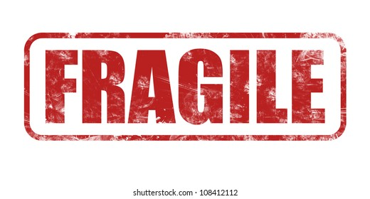 Safety, fragile rubber stamp on white background